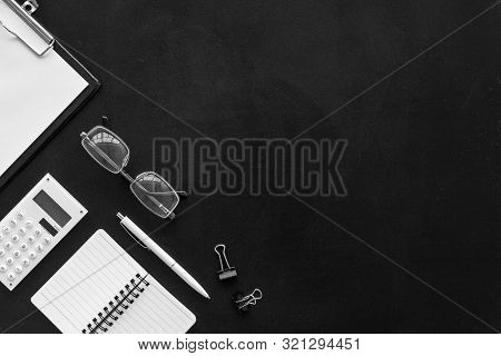 Minimalistic Black Office Desk Flat Lay Copy Space Top View