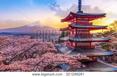 Fujiyoshida, Japan Beautiful View Of Mountain Fuji And Chureito Pagoda At Sunset, Japan In The Sprin