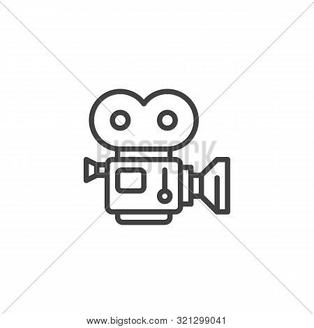 Movie Camera With Film Strip Line Icon. Linear Style Sign For Mobile Concept And Web Design. Camcord