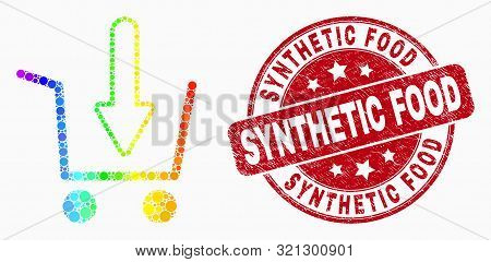 Dotted Rainbow Gradiented Put Shopping Item Mosaic Pictogram And Synthetic Food Seal. Red Vector Rou