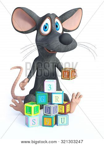 3d Rendering Of A Cute Smiling Cartoon Mouse Sitting On The Floor And Playing And Building A Tower W