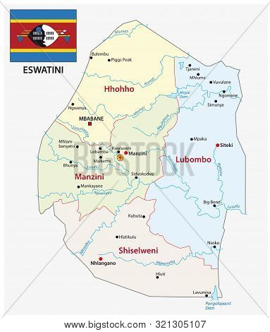 Kingdom Of Eswatini Administrative And Political Map With Flag