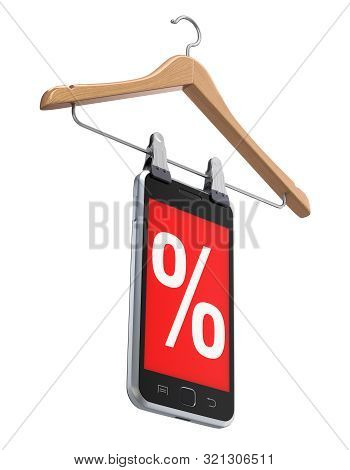 Discount Concept With Wooden Hanger And Mobile Phone - 3d Illustration