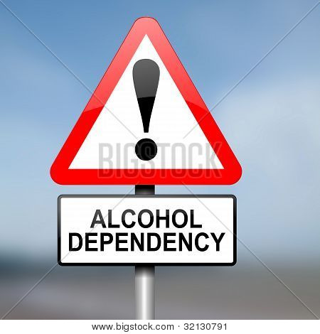 Illustration depicting red and white triangular warning road sign with a alcohol dependency concept. Blurred background. poster