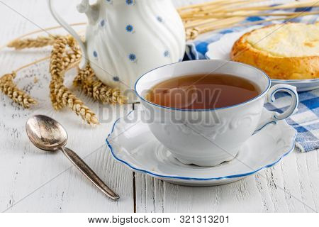 Tea Time At Wooden Table Indoor Close Up