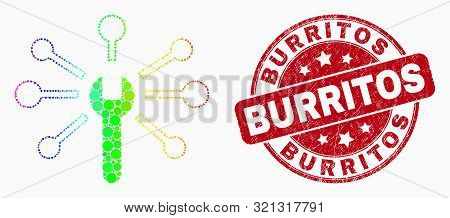 Pixel Rainbow Gradiented Wrench Links Mosaic Pictogram And Burritos Seal Stamp. Red Vector Rounded T
