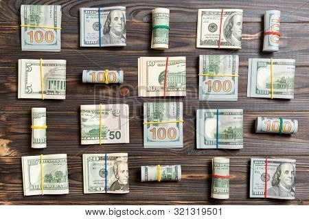 Colored Background With Money American Hundred Dollar Bills On Top Wiev With Copy Space For Your Tex