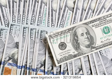 Us Dollar Bills. One Hundred Dollar Bills Background. Top View Of Business Concept On Background Wit
