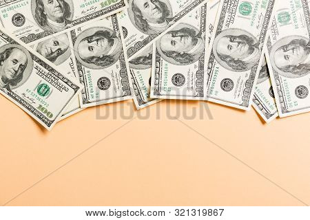 One Hundred Dollar Bills Top View Of Business Concept On Background With Copy Space