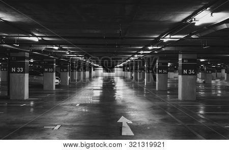 Underground Car Parking Lot. Underground Car Parking Garage At Shopping Mall Or International Airpor