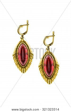 Pair Of Vintage Gold Earrings With Red Ruby Gems On White Background