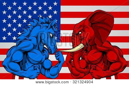A Blue Donkey And Red Elephant Fighting In Front Of An American Flag Background. American Politics E