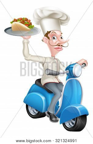 An Illustration Of A Chef On Scooter Moped Delivering Gyro Kebab