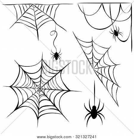 Set Of Black Cobweb And Hanging Spiders Isolated On White Background. Line Art Of Spider Webs And Sp