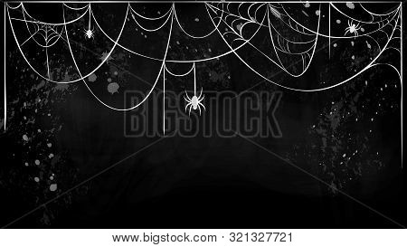 Cobweb Horizontal Banner With Hanging Spiders On Black Grunge Background. White Torn Spider Web Silh