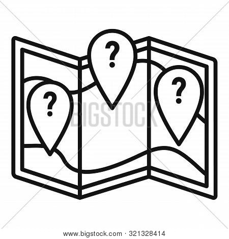 Question Map Disease Icon. Outline Question Map Disease Vector Icon For Web Design Isolated On White