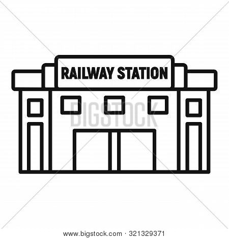 Glass Railway Station Icon. Outline Glass Railway Station Vector Icon For Web Design Isolated On Whi