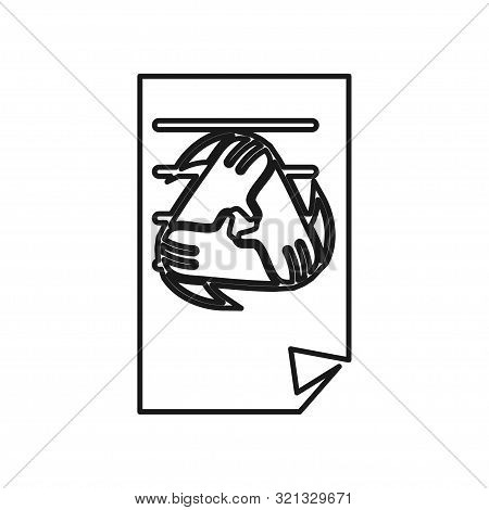Paper Document Hand Commitment Teamwork Together Outline Logo