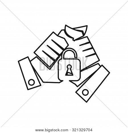 Hand Lock Secure Commitment Teamwork Together Outline Logo