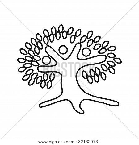 Tree People Commitment Teamwork Together Outline Logo Vector