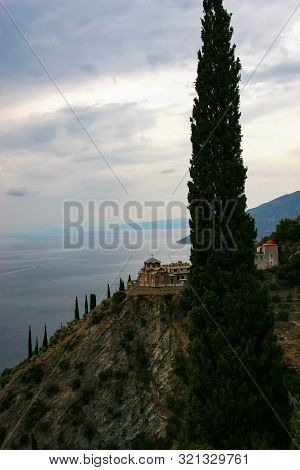 Dawn On Mount Athos. Skete Of St. Anne. Greece