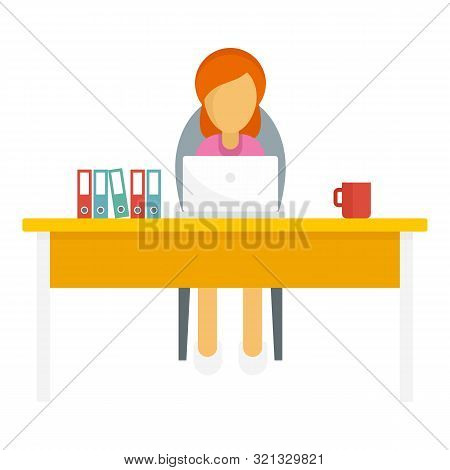 Woman Freelancer Icon. Flat Illustration Of Woman Freelancer Vector Icon For Web Design
