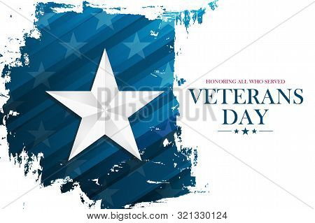 United States Veterans Day Celebrate Banner With Silver Star On Brush Stroke Background. Usa Nationa