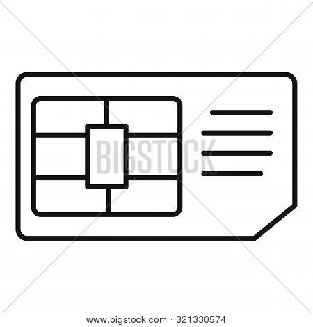 Business Sim Card Icon. Outline Business Sim Card Vector Icon For Web Design Isolated On White Backg