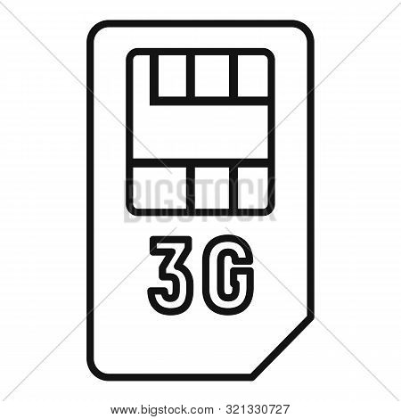 3g Sim Card Icon. Outline 3g Sim Card Vector Icon For Web Design Isolated On White Background