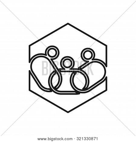 Hexagonal Chain People Commitment Teamwork Together Outline Logo