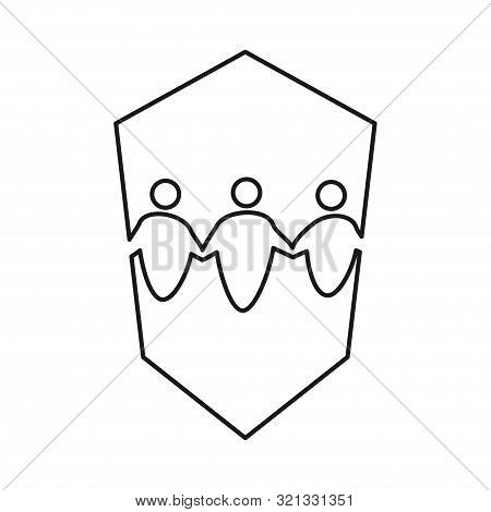 People Secure Shield Commitment Teamwork Together Outline Logo