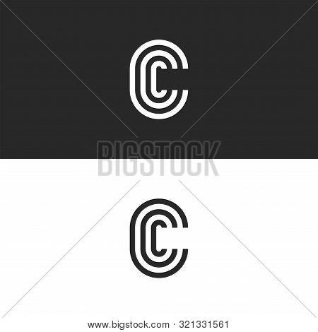 Monogram Letter C Logo Ccc Crest Initials Business Card Emblem, Parallel Lines Shape