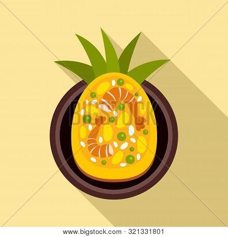 Thai Food Shrimp Pineapple Icon. Flat Illustration Of Thai Food Shrimp Pineapple Vector Icon For Web