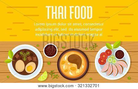 Tasty Thai Food Concept Banner. Flat Illustration Of Tasty Thai Food Vector Concept Banner For Web D