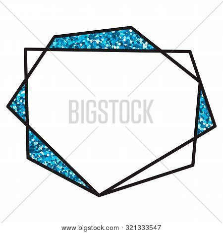 Vector Illustration. Geometric Polygonal Black Linear Frame. Cristal Shapes With Glitter. For Design