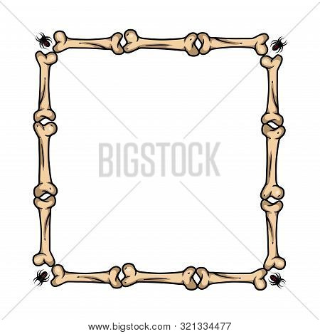 Vector Creepy Art With Bone Frame For Scary Design, Print, Poster, Cover, Sticker, Card. Scary Illus