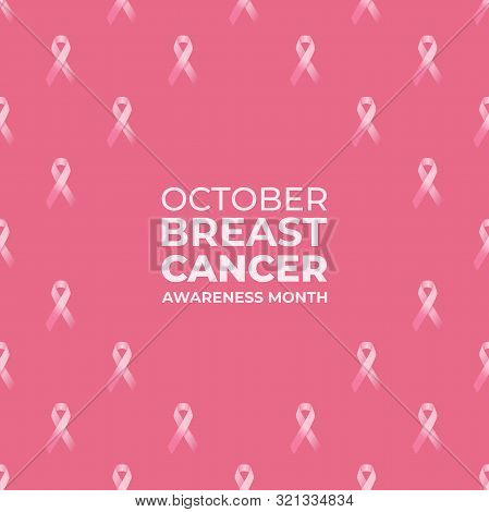 Pink Breast Cancer Awareness Ribbon Background Vector.