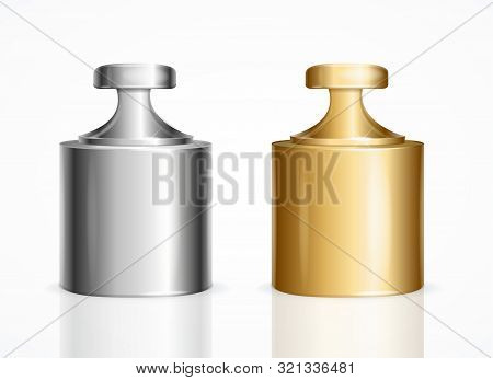 Realistic Detailed 3d Calibration Weight Laboratory Shine Golden And Silver Color Set Closeup View.