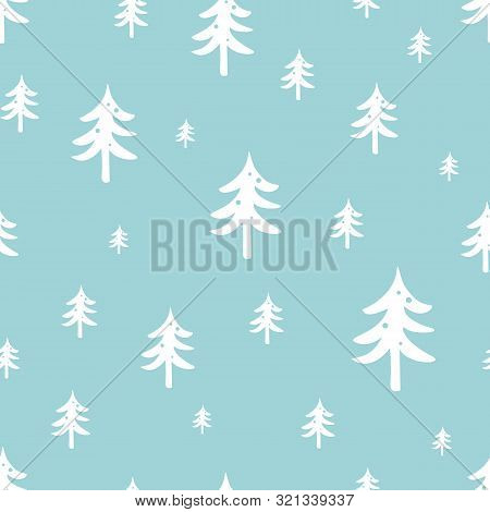 Winter Forest Seamless Pattern Christmas Tree On Blue Background Winter Vectoe Design