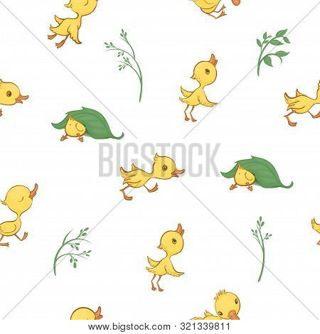 Vector Seamless Pattern With Cute Funny Yellow Cartoon Ducklings And Green Plants.
