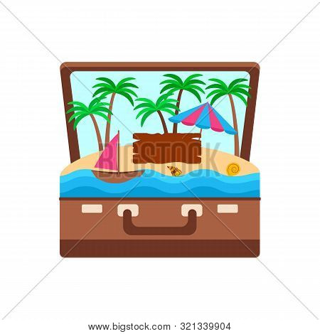 Concept Tropical Island In A Suitcase, Palm Trees And An Umbrella On The Sand And A Sail In The Ocea