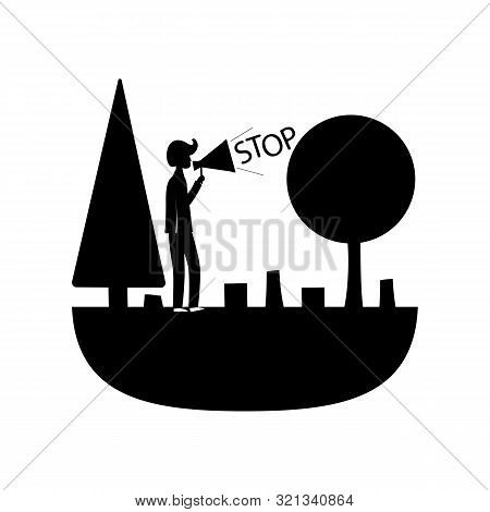 Protection Of The Planet From Deforestation, Vector Icon With A Black Fill On The Theme