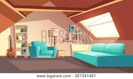 Cartoon Background With Empty Garret Room, Modern Loft Apartment Under Wooden Roof, Attic Interior.