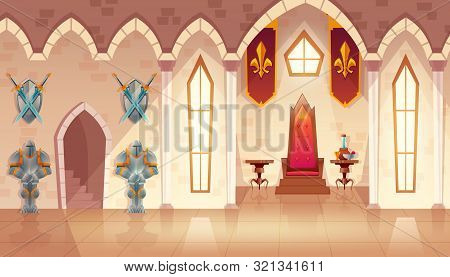 Castle Hall With Windows. Interior Of Royal Ballroom With Throne, Table And Guards In Knight Armor.