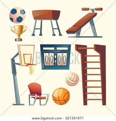 Cartoon Set Of Gym Equipment For School, College. Basketball, Volleyball Competition Elements, Score