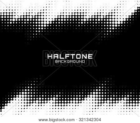 Halftone Dots Gradient Pattern Texture Horizontal Background. Frame Using Halftone Circle Zigzag Gru