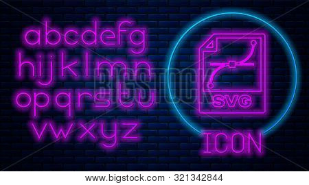 Glowing Neon Svg File Document. Download Svg Button Icon Isolated On Brick Wall Background. Svg File
