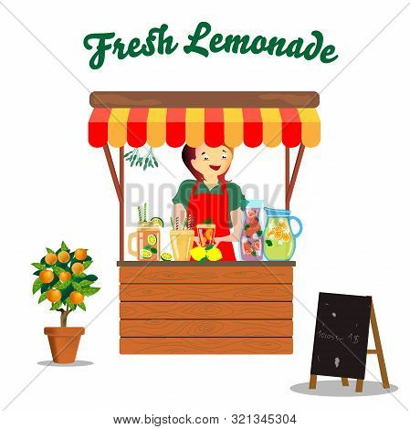 Rack With Seller Of Fresh Lemonade. Vector Sketch, Jars, Jugs And Citrus Flower.