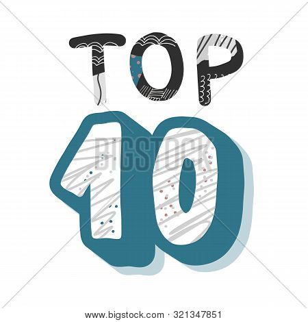 Top 10 Template With Collage Texture. Blank Illustration.
