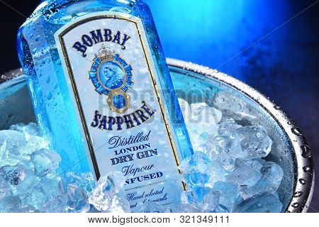 Bottle Of Bombay Sapphire Gin Oin Bucket With Crushed Ice
